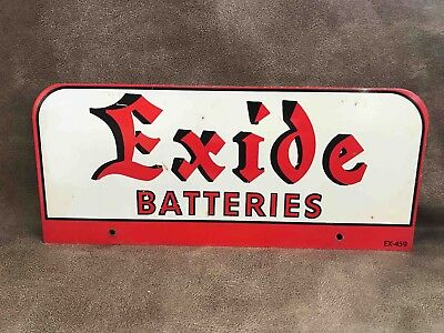 Vintage Exide Automobile Car Batteries Store Sales Rack Advertising Sign