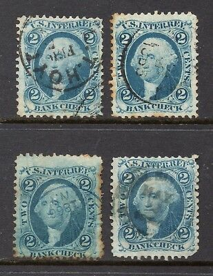 4 Hand-Stamped R5c, used, 2¢ Bank Check, 1862, All Different Cancels, Set 1
