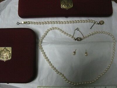 Vintage~Majorica Pearl Necklace Bracelet And Earrings~925 On Clasp~W/red Boxes