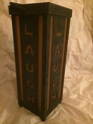 "Vintage ""LAUGH"" Sign Art Deco Battery Operated Light Up With Handle 12"" Tall"