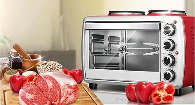 25L Home Commercial Red Multi-function Baking Tool Benchtop Electric Oven &