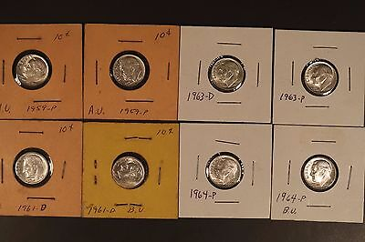 Group of 8 Roosevelt Dimes 1959-1964 (silver years)