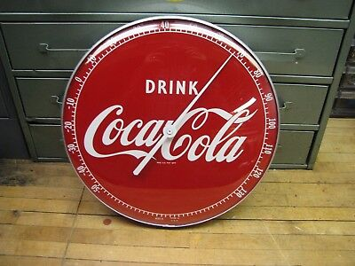 """Vintage Coca-Cola #495A 12"""" Thermometer With Glass Lens"""