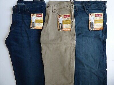 NEW Mens Wrangler Five Star 4-Way Flex Relaxed Fit Jean - Size Regular & Big