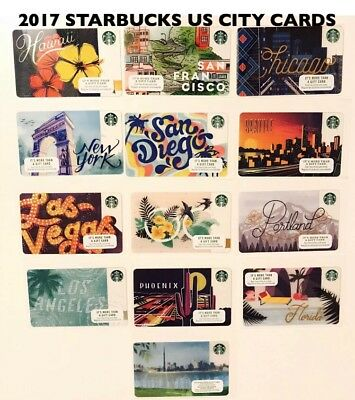 2017 Starbucks Cards Complete Set US San Francisco Hawaii Chicago San Diego
