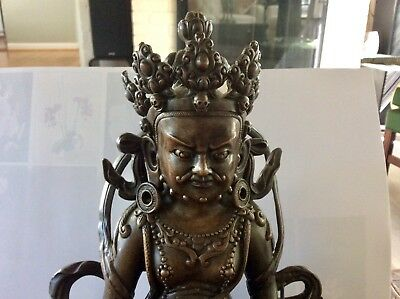 Antique Bronze Statue, India Fortune god, rare with beautiful details. Unique