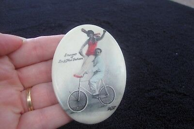 Souvenir Celluloid Pocket Mirror of Leo & Mae Jackson Bicycle Circus Performers