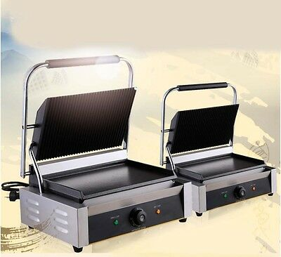 Commercial 2200W Stainless Steel Stripes Hot Plate Pressplate Electric Grill *