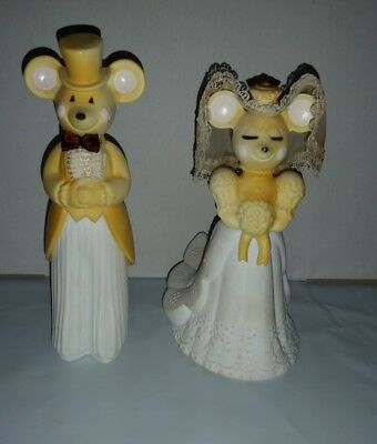 AVON church mouse bride & groom pair empty cologne bottles with trimmings
