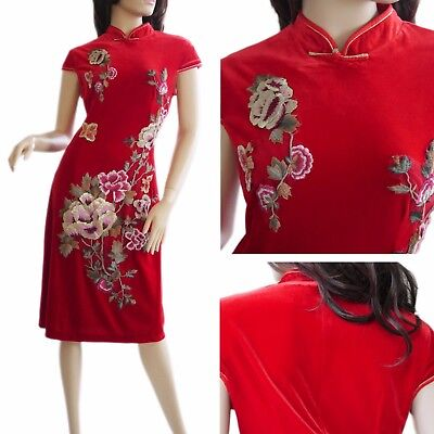 Chinese Long Cheongsam Qi Pao in RED VELOUR- Tea Ceremony Wedding Dress (Size10)