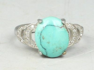 Chinese Exquisite Hand-carved Tibetan silver mosaic turquoise Ring