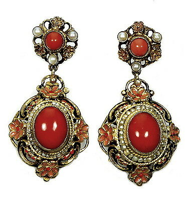 Antique Victorian Austro-Hungarian Earrings Coral Enamel Seed Pearls