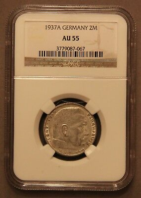 NGC AU-55 1937-A Two Reichsmark Silver Coin w/ Swastika 2 Mark Bullion