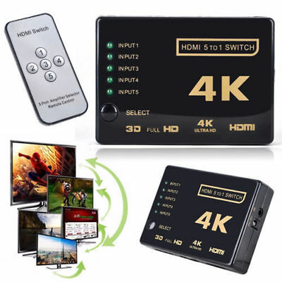 3D 1080p 5Port 4K HDMI Switch Switcher Selector Splitter Hub+IR Remote Fo HDTV L