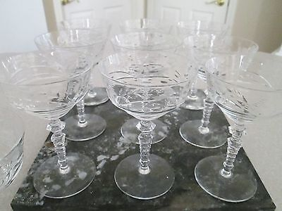 11 vintage crystal etched wine goblets
