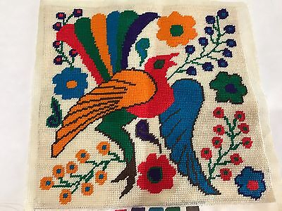 Vintage Embroidery Pillow Finished Flower Colorful Bird