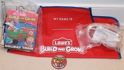 Lowes Build And Grow Holiday Train Wooden Building Set,Patch,Apron, goggles New