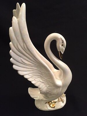 Vintage Norcrest Ceramic Iridescent White Gold Large Swan Bird Figurine Japan