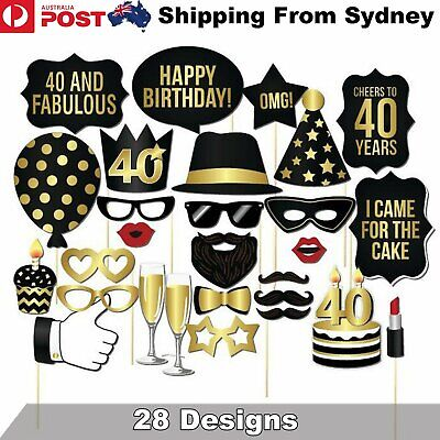 28PCS 40th Birthday Photo Booth Props Mustache Lip Stick Wedding Party Decoratio