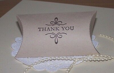 "Wedding hand stamped, Vintage ""Thank you"" pillow boxes. Pk-100. All occasions"