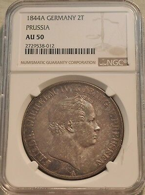 1844 A Germany 2T Two Taler NGC AU 50 Prussia Silver Thaler Coin, Problem Free
