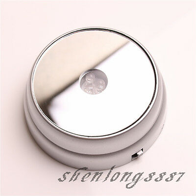 New Round 3D Crystal Glass Paperweights 3 LED Light Stand Base Display SilveryF