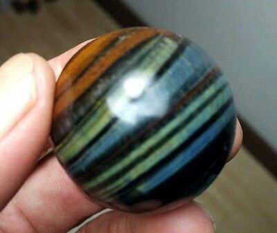 54.8g 33mm Natural Blue and Yellow Tiger's Eye Crystal Sphere Ball Healing P1017