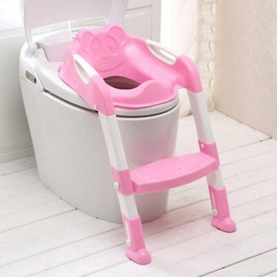 Baby Kids Child Toddler Potty Training Toilet Ladder Seat Steps Space Saving Y8