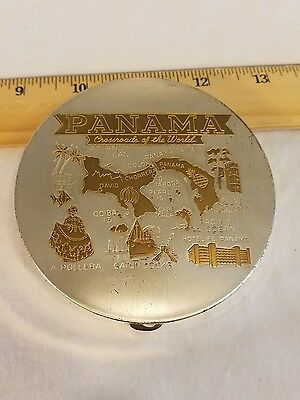 Vintage 60s Large Panama Tourism Makeup Compact Cool Collectible Piece Great Con