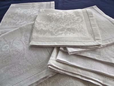 "Lot 10 Vintage Pure White Damask Irish Linen 14""Tea Cocktail Napkins Hemstitched"