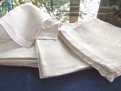 "Lot 12 Vintage Pure White Damask Irish Linen 15""Tea Cocktail Napkins Hemstitched"