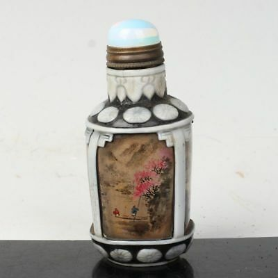 China Exquisite Handmade Inside painting Landscape pattern Glass snuff bottle