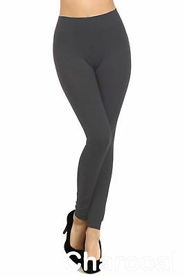 7a9661ed7b49b Women Fleece Lined Stretch Leggings Warm Winter Thermal Gray One Size S M L