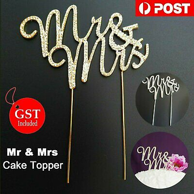 Diamond Mr & Mrs Cake Topper Wedding Silver Bling Rhinestone Crystal Party Decor