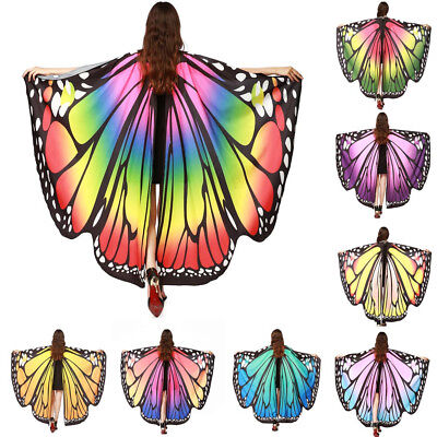 Women Butterfly Wings Shawl Scarves Nymph Pixie Poncho Costume Accessory Shawl