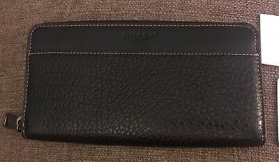 get cheap 2906d 0a999 NWT COACH F12130 Men's Accordion Textured Leather Wallet Black
