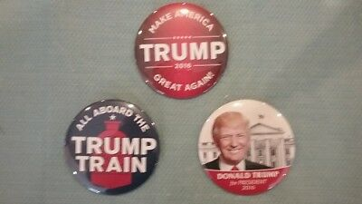 """Donald Trump President Campaign Buttons (set of 3) 3"""" Dia"""
