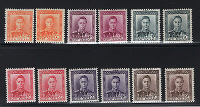 1947 New Zealand SC#258-68 SG#680-89. Mint, Never Hinged, Very Fine