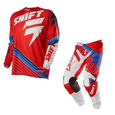 SHIFT strike MX motocross gear COMBO red jersey LARGE pants 34 waist 87 cm