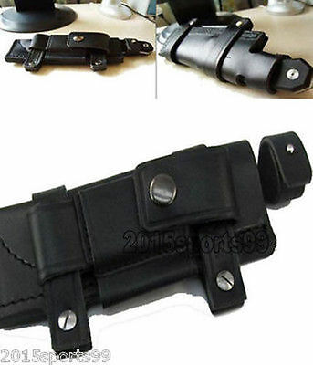 """NEW Straight Leather bag Black Belt Sheath For Less 7"""" Fixed Knife W/Pouch #10"""