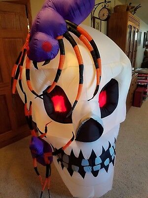 Halloween Inflatable Skull with Spiders, Lights Up, Stands over Six Feet Tall