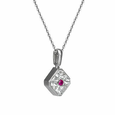 Princess Natural Diamond Pendant Necklace 0.51 CT 18K White Gold Ruby Jewelry