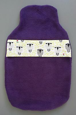 Hot Water Bottle Cover Hand Made- Purple Fleecy Black Face Sheep