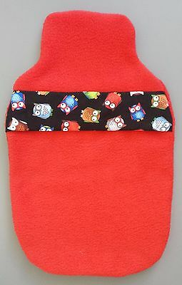 Hot Water Bottle Cover Hand Made- Red Fleecy Night Owl