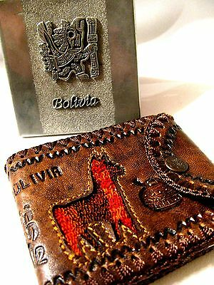 Bolivia Hand  Crafted Vintage Personal Set Leather Walet And  Cigarettes Case
