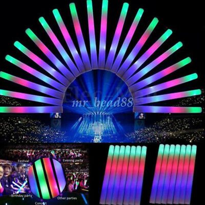 1X Light-Up Foam Stick LED Rally Rave Cheer Tube Soft Flashing Glow Wand 48x4cm