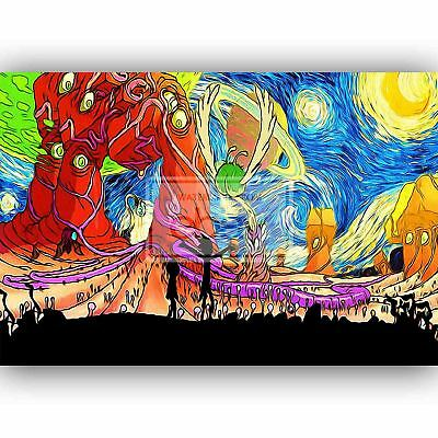 Custom Rick and Morty Starry Night Silk Poster Wall Decor
