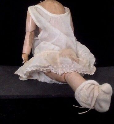 "Antique Doll. 15"" Tall. Painted Wood Body & Limbs. No Head & Leg. Jointed. Rare."