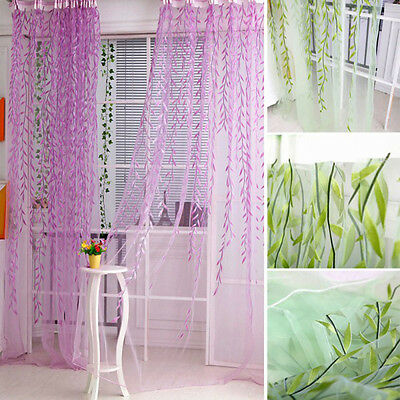 Tree Willow Curtains Blinds Voile Tulle Room Curtain Sheer Panel Drapes EF