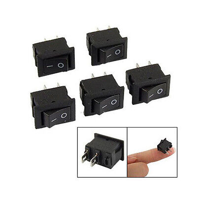 DIY 5X SPST On/Off Black Square I/O Rocker Switch Mini Small Automotive/Car/Boat